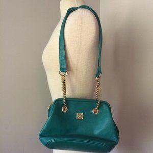 Liz Claiborne Green Leather Purse Gold Chain